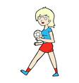 comic cartoon soccer girl vector image vector image