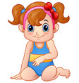 cute girl cartoon sitting wearing swimsuit and red vector image