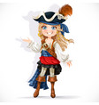 cute little pirate girl isolated on a white vector image vector image