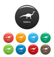 diplodocus icons set color vector image vector image