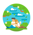 Flat design couple sitting outdoor vector image
