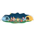 friends sit campfire flat young tourists vector image