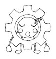 gear sleep kawaii icon imag vector image