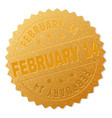 gold february 14 medal stamp vector image vector image