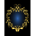 Gold vintage frame with blue stripes background vector image