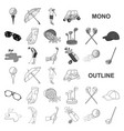 golf and attributes monochrom icons in set vector image vector image
