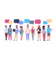 group of hipsters people with chat bubbles casual vector image vector image
