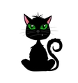 Halloween black cat with fang on white background vector image vector image