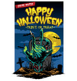 halloween card design with zombie hand vector image