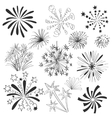 Hand drawn colorful fireworks set vector image