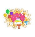 happy birthday composition paper cut vector image