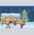 happy kids playing in front of the snowing house vector image vector image