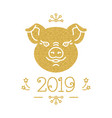 happy new year and christmas card 2019 year of vector image vector image
