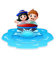 kids riding a motor boat on the beach vector image vector image