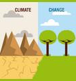 landscape divided green scene and desert mountain vector image