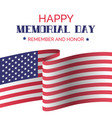 memorial day greeting card with usa flag vector image