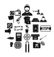 misdemeanor icons set simple style vector image vector image