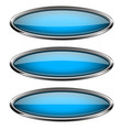 oval blue glass buttons with metal frame vector image vector image