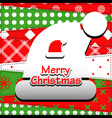Patchwork background with christmas hat vector image vector image