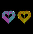 pink-blue and yellow-orange heart vector image vector image