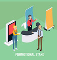 promotional stands sales promoters advertising vector image vector image
