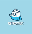 retro milk cartoon cute logo icon vector image