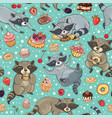 seamless pattern with raccoons and cakes vector image