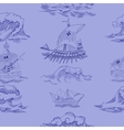 Seamless pattern with waves and ships vector image