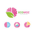 set of brain logo combination education and eco vector image