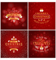 set of christmas golden and red greeting card vector image