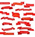 set of sixteen red ribbons and banners vector image vector image