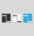 set vertical dl menu black white and blue for vector image vector image
