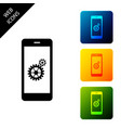 setting on smartphone screen icon on white vector image vector image