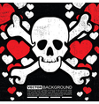 skulls with hearts vector image vector image