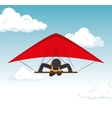 sky gliding man flying extreme sport vector image vector image