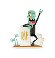 smiling zombie character near rip gravestone vector image