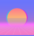 sun neon retro 80s background neon sunset vector image