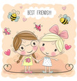 two cute cartoon girls vector image vector image