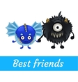 Two funny monster isolated black and blue vector image vector image