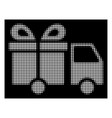 white halftone gift delivery van icon vector image