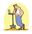 Worker shovel laptop vector image vector image