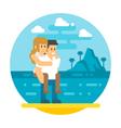 Flat design couple piggyback beach vector image
