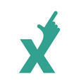 x letter hand isolated forefinger lettering on vector image