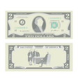 2 dollars banknote cartoon us currency vector image