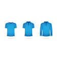a set of blue t-shirts vector image vector image