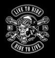 animal moto rider vintage label vector image vector image