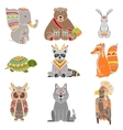 Animals Wearing Tribal Clothing Set vector image vector image