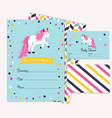 baby shower invitation template with cute unicorn vector image vector image