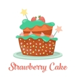 baked strawberry cake dessert food vector image vector image