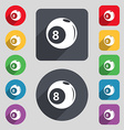 Billiards icon sign A set of 12 colored buttons vector image vector image
